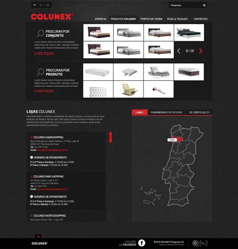 colunex menu location Colunex website