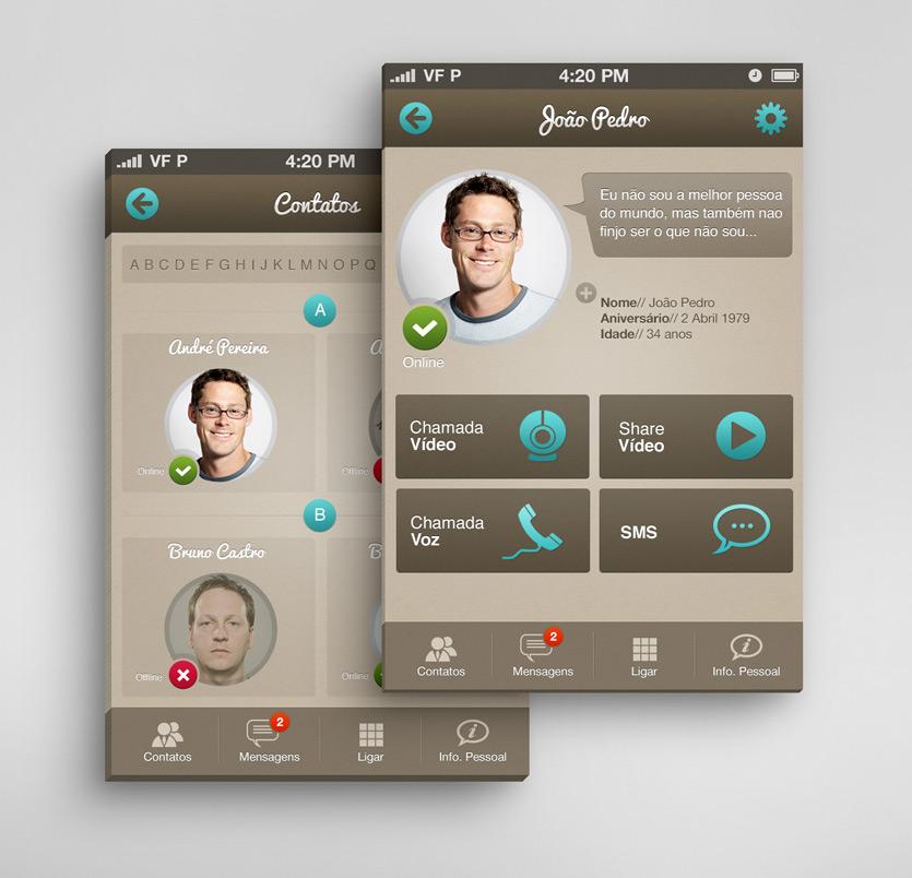 appcontact screens Messaging App